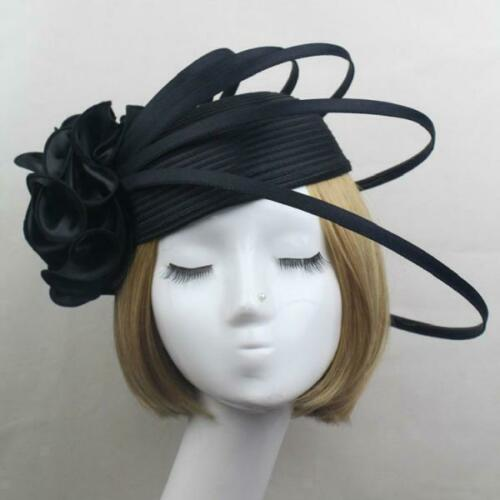 Elegant Women Wedding Ascot Races Party Flower Feathers Fascinator Veil Net Hats