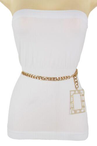 Women Skinny Hip High Waist Gold Metal Chain Belt Big Square Charm Buckle XL XXL