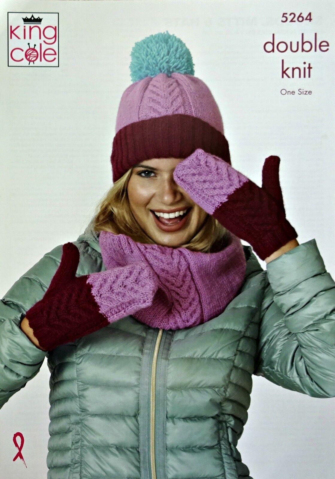 Snoods /& Mittens DK Knitting Pattern King Cole 5264 Ladies Hat