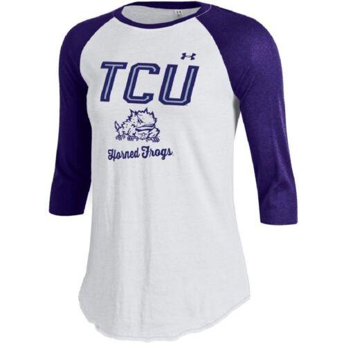 Under Armour NCAA TCU Horned Frogs Women/'s 3//4 Sleeve Raglan Baseball Tee