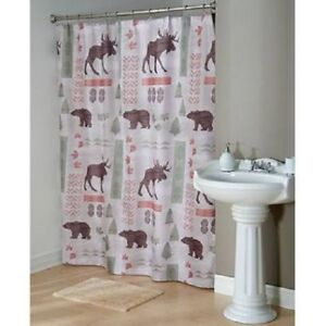 Image Is Loading Cabin Lodge Wilderness Wildlife Forest Fabric Shower Curtain