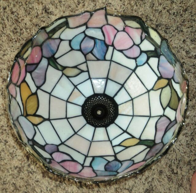 New Tiffany Style Stained Glass Lamp Shade Floral Lot (2 shades) Heavy