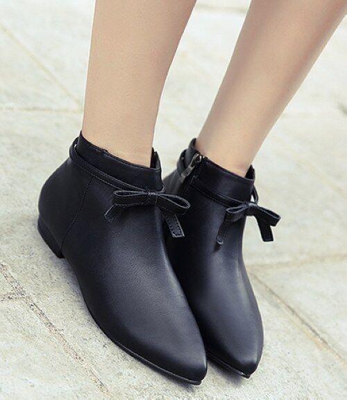 Bottes basses chaussures bas 3.5 cm noir élégant comme cuir 9319
