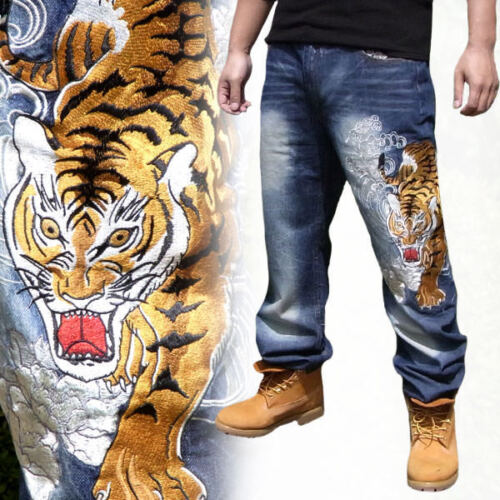 New Mens Jeans Japanese Pattern Embroidery Straight Fit Pants Denim Tattoo Tiger