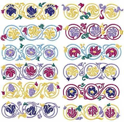 Elegant Borders 12 Machine Embroidery Designs 5x7 Ebay