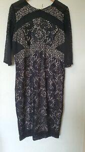 Siguiente-Floral-Encaje-Negro-Desnudo-Forrado-Vestido-Talla-16