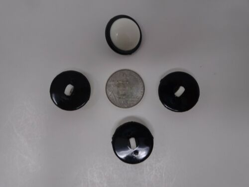 Vintage White w// Black Border Dome Round Shank Buttons 20mm Lot of 8 AA23-9