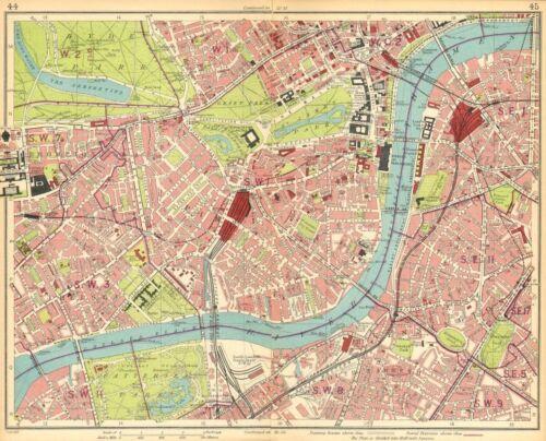 LONDON Brompton Pimlico Mayfair Westminster Chelsea Lambeth West End 1930 map