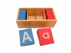 NEW-Montessori-Language-Material-Little-Red-and-Blue-Sandpaper-Letters-in-Print