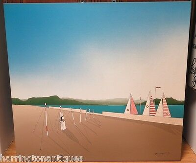 LARGE JAMES WILLEBRANT ACRYLIC ON CANVAS 118CM X 110CM DOCKED INTEREST C.1978
