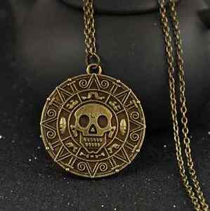 New Pirates of the Caribbean Aztec Gold Coin Necklace Mens Skull