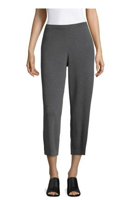 NWT NIP Eileen Fisher Wide Wool Cropped Pants in Bark  218