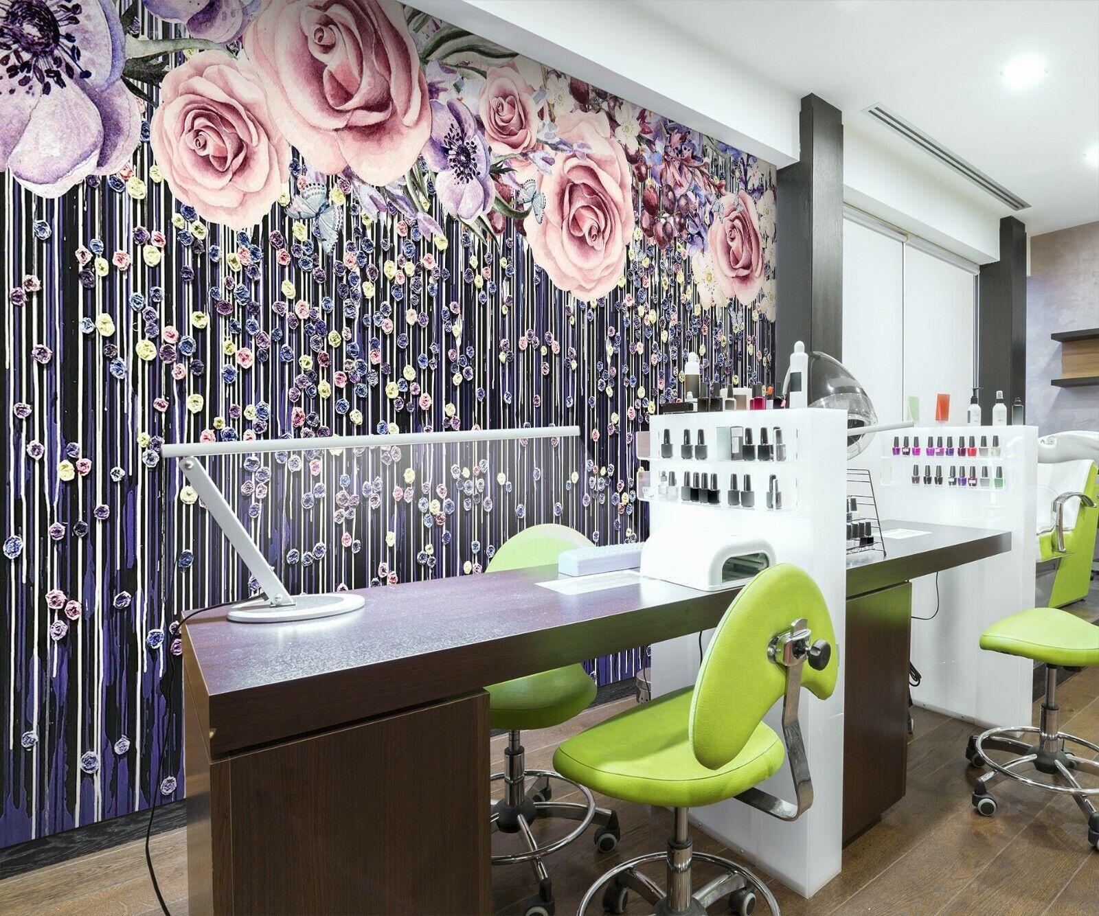 3D Schöne Blütenfarbe M46 Geschäft Tapete Wandgemälde Selbstklebend Handel Ang