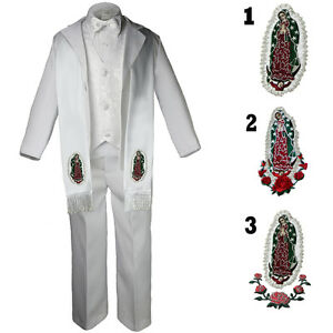 Baby TODDLER & BOY Christening Baptism Formal White Tuxedo Suit with Stole Sm-20