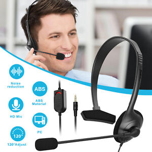 USB Headset w/Noise Cancelling Mic Computer Headphone for Laptop PC Call Center