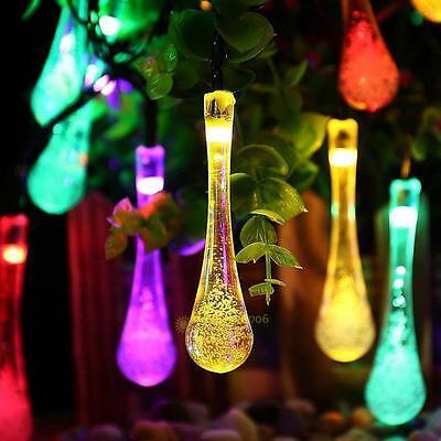 20LED Water drop Solar Power Motion Sensor String Light Patio Garden Christmas