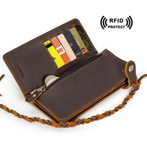 RFID-Schutz-Herren-Echt-Leder-Lange-Brieftasche-Kartenhalter-Bifolds-Geldboersen