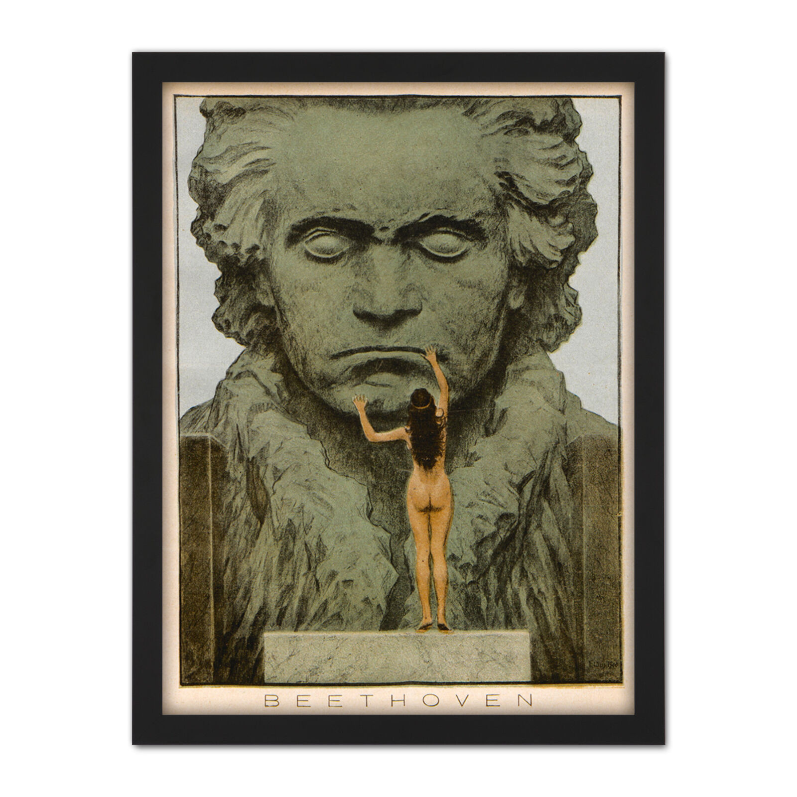 Fidus Beethoven Temple Statue Draft Framed Wall Art Print 18X24 In
