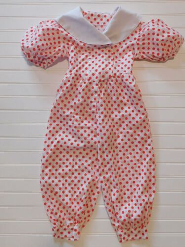 Vintage- Handmade Red Dots Puff Sleeves Jumpsuit R