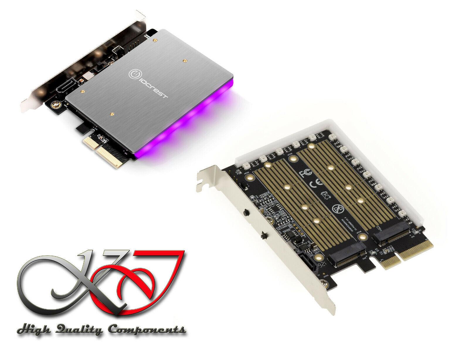 Controller Card Pcie 3.0 x4 For SSD M2 Pcie M Key And SATA B Key - LED RGB