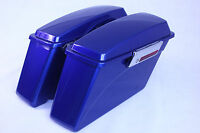 Superior Blue Hard Saddlebags For Harley Sportster Dyna Touring Glide With Lock