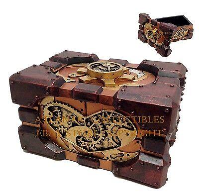 Vintage Steampunk Pressure Gauge Design Gearwork Jewelry Box Decorative Figurine