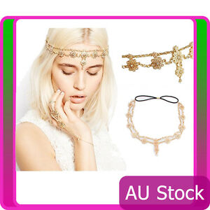 Deco Vintage Hairband 20s Flapper Chain Headpiece Gatsby Downton Boho Goddess