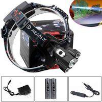 15000 Lumen Headlamp CREE XM-L 3 x T6 LED Headlight 18650 Light Charger Battery