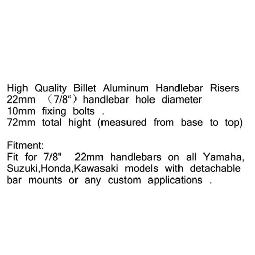"Handle Bar Riser Risers Mount Mounting Clamps Motorcycle Bike 7//8/"" 22mm Black UK"