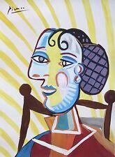 Unique tempera and gouache painting, Portrait of a woman, signed Pablo PICASSO