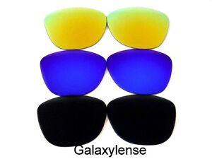 Galaxy-Lentes-De-Repuesto-Para-Oakley-Frogskins-Negro-azul-y-dorado-Polarizados