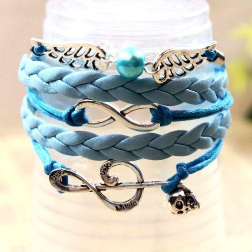 """Bracelet charme mode femme ado bleu et turquoise /""""Music/"""""""