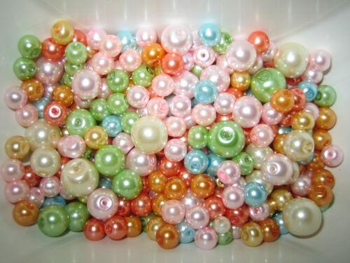 PERLES DE VERRE MIX//Glaswachsperlen 100 G Pastel Couleurs 4 mm 8 mm environ 230-250 Pièces