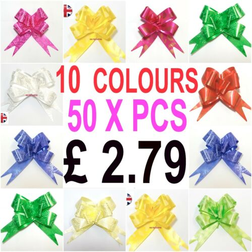 50 X LARGE Ribbon Bows MULTI 10 COLOURS easy pull flower ribbon party decoration