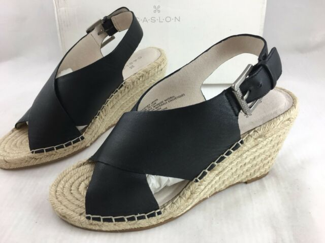 0a5529d20c1 Caslon Suri Black Leather Espadrille Wedge Sandals Size 5.5