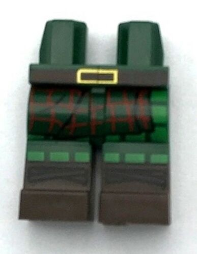 Lego New Dark Green Hips and Legs with Tartan Kilt Dark Brown Belt and Boots