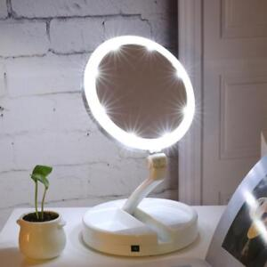 New Portable Folding Mirror 10x Magnifying Led Lighting Make Up