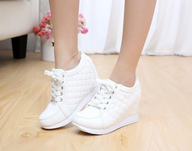 Sneaker Trainer Plimsoll Boots Sport shoes Women High Top Wedge Heel
