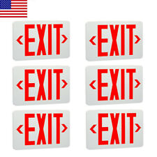 6 Pack Abs Red Led Exit Sign Ul Emergency Light Dual Led Lamp Fire Resistance
