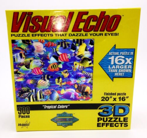 "New 3D Puzzle Visual Echo Tropical Colors fish 500 Pieces 20""x16"" McClure 2004"