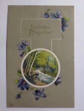 """""""Pfingsten, Landschaft, Wald, Bach, Blumen"""" 1911, Prägekarte ♥ (48099)"""