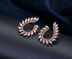 Exquisite rose gold filled multi oval cubic zirconia U design stud ... 045e335f5513