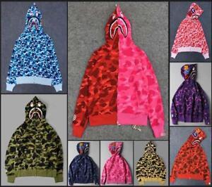 03bf163a626c Image is loading Fashion-Unisex-Hoodie-Bape-Classic-Camo-Shark-Jaw-
