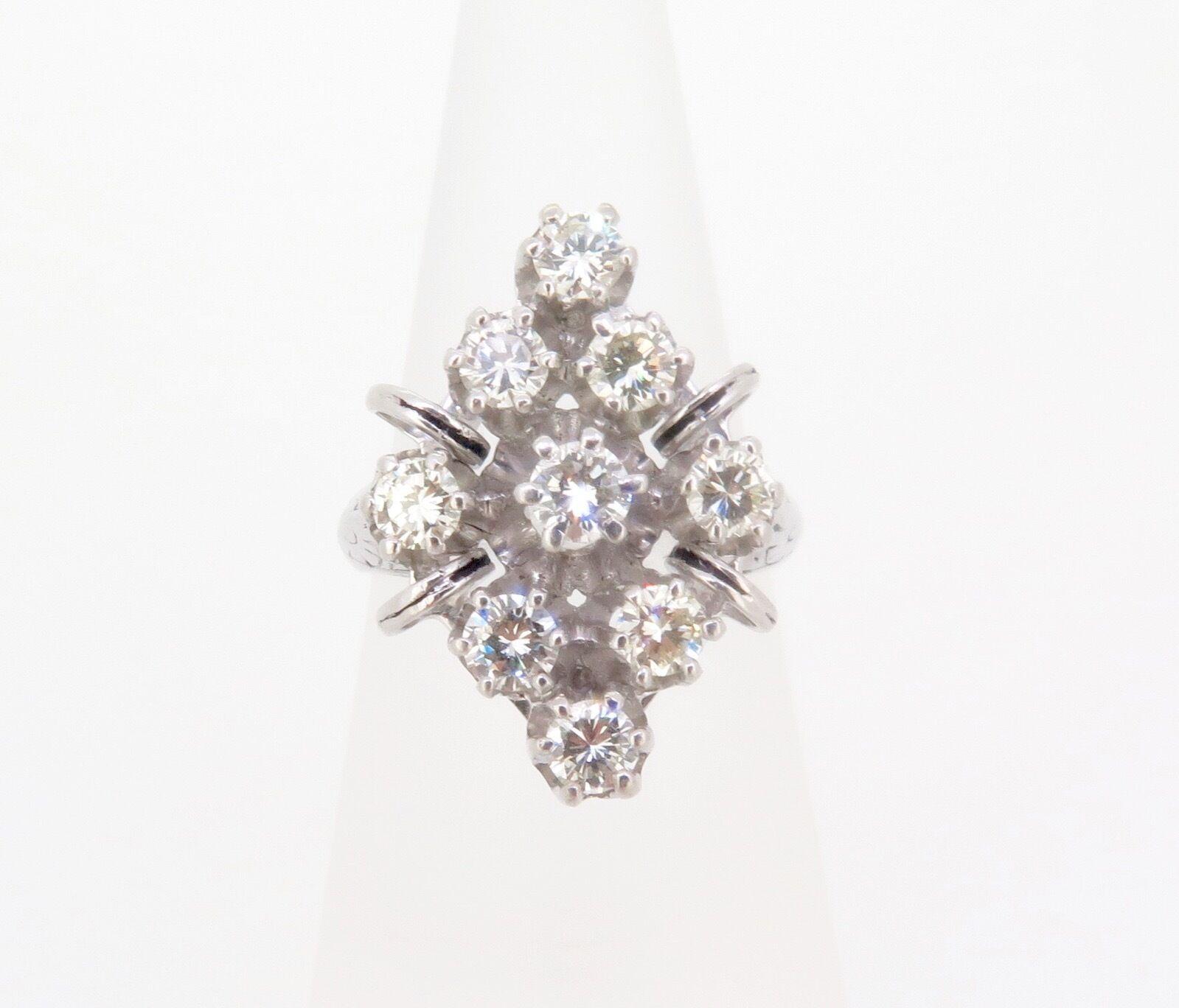 .Vintage ladies 14k gold 1.17ct VS diamond cluster dress ring Val  5190