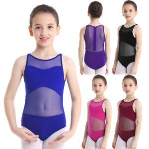 Girls-Kids-Mesh-Ballet-Dance-Leotard-Dress-Gymnastics-Zipper-Closure-Dancewear