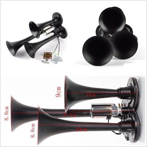 12//24V Car Vehicle Boat Compact Black Triple 3-Trumpet Air Horn Ultra Loud 150DB