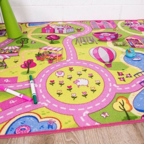 Funfair Pink Colourful Kids Town City Roads Floor Play Area Rug Mat Fun 80x120cm