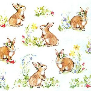 4 Vintage Paper Napkins for Decoupage Lunch Decopatch Party Flowers /& Rabbits