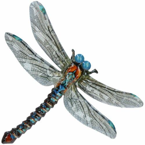 Blue Metal Dragonfly Garden//Home Wall Art Ornament 35x28cm Inddor//Outdoor