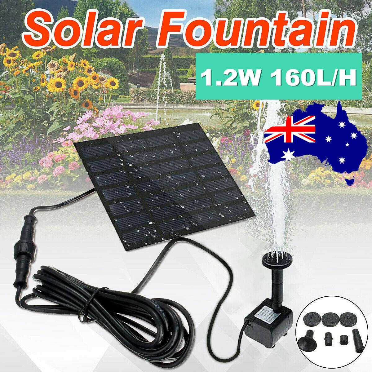 Solar Panel Powered Water Pump Garden Pool Pond Fish Aquarium Fountain 160L//H Qz